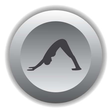 dog pose: girl silhouette practising yoga in downward dog pose