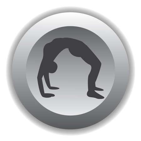 girl silhouette practising yoga in wheel pose