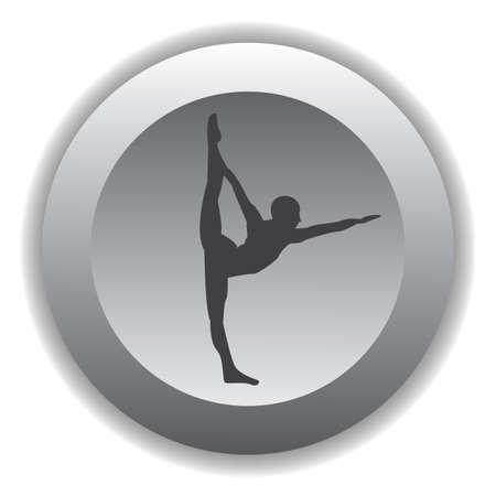 variation: girl silhouette practising yoga in standing split pose variation