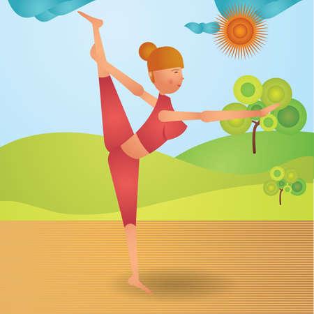 variation: girl practising yoga in standing split pose variation