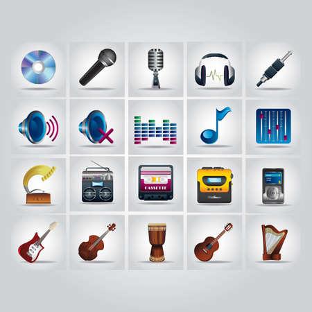 violin player: music icons Illustration