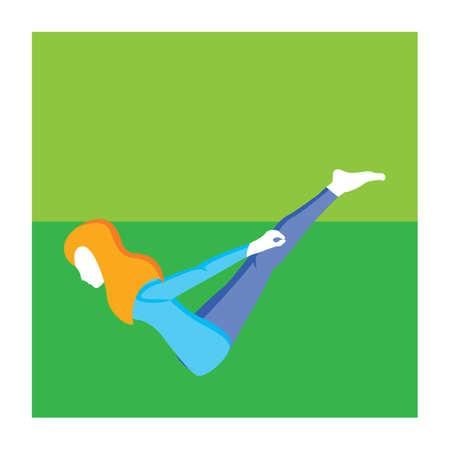 langosta: chica practicando yoga en actitud de la langosta variación