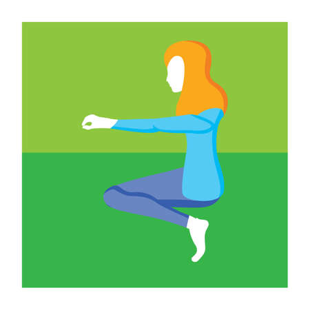 variation: girl practising yoga in chair pose variation Illustration