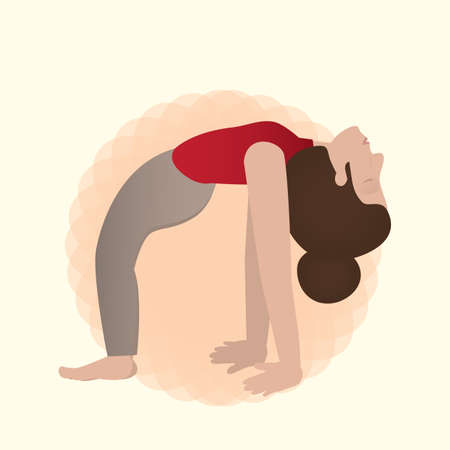 girl practising yoga in wheel pose