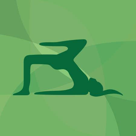 variation: girl silhouette practising yoga in table pose variation Illustration