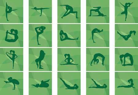 set of yoga icons