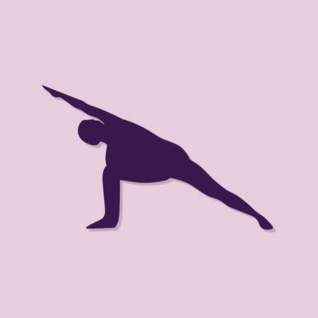 side angle pose: girl silhouette practising yoga in extended side angle pose