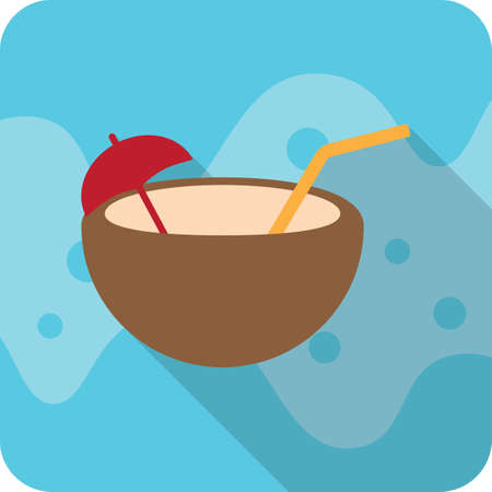 tropical: tropical drink in coconut shell Illustration