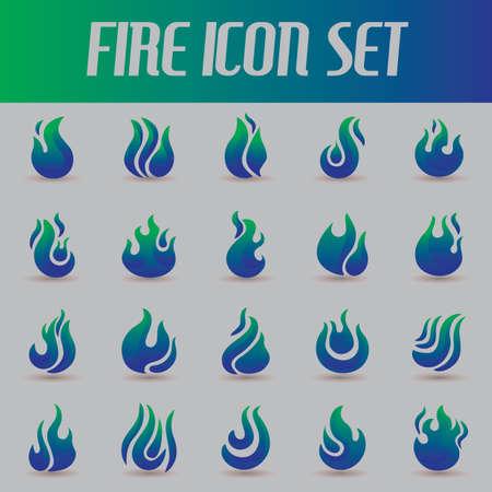 igniting: set of fire flames Illustration