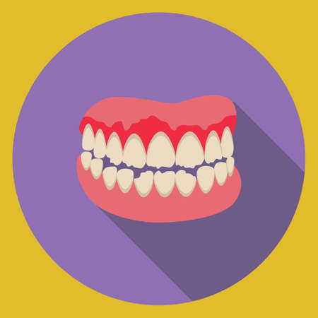 dentures: a set of damaged dentures Illustration