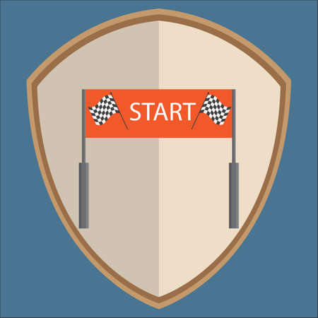 starting line: car racing starting line on shield