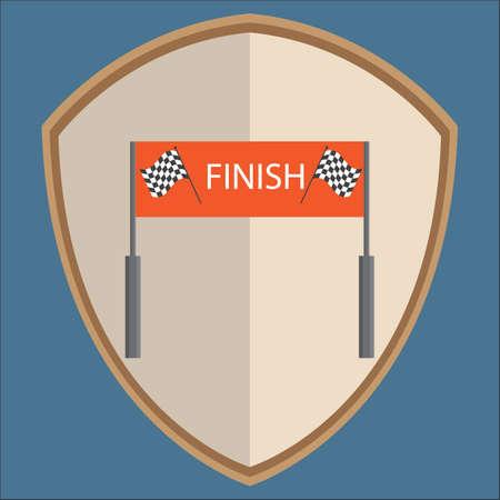 finishing line: racing finishing line on shield