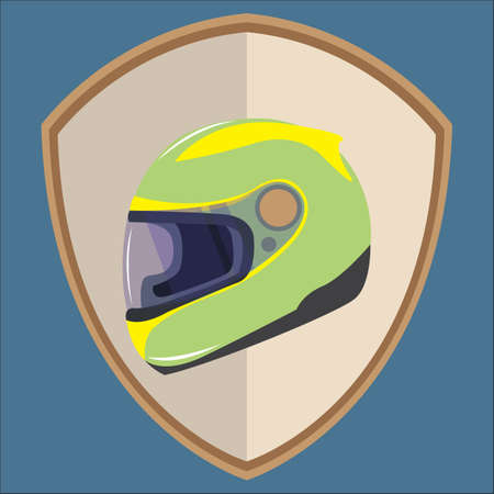 sports helmet: sports helmet on shield