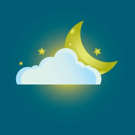 crescent: cloud and crescent moon Illustration