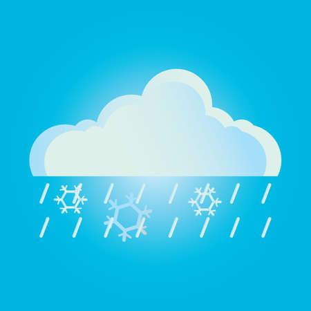 cloud: rain cloud and snowflakes