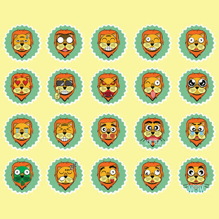 blushing: collection of lion expressions Illustration
