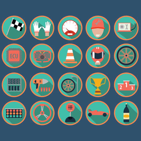 shifter: set of motor racing icons Illustration