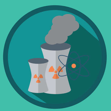 nuclear power plant: nuclear power plant with atom structure