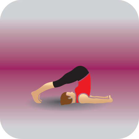 plow: girl practising yoga in plow pose