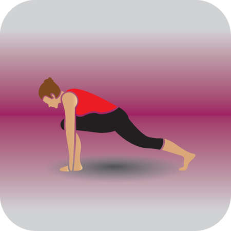 lunge: girl practising yoga in lunge pose