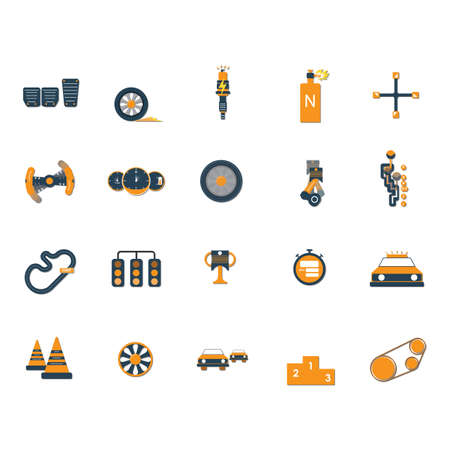 standby: set of motor racing icons Illustration