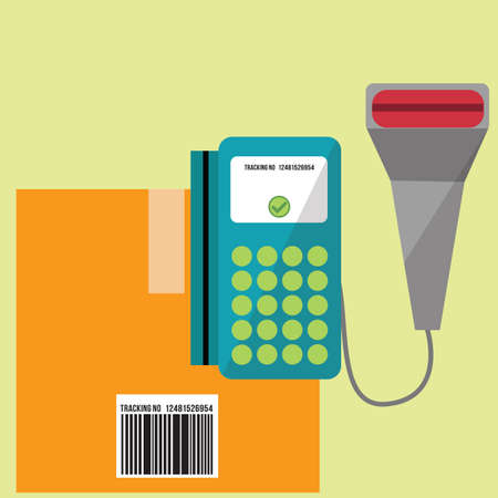shipment tracking: barcode scanner with the delivery box Illustration