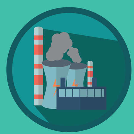 nuclear power plant: nuclear power plant and factories Illustration