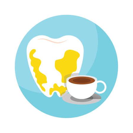 gingivitis: tea effect on tooth Illustration