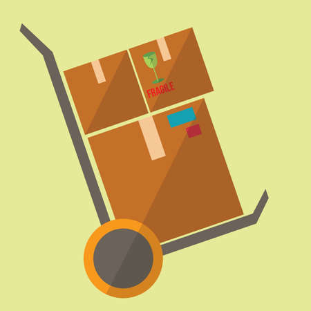 hand truck: delivery boxes on the hand truck Illustration