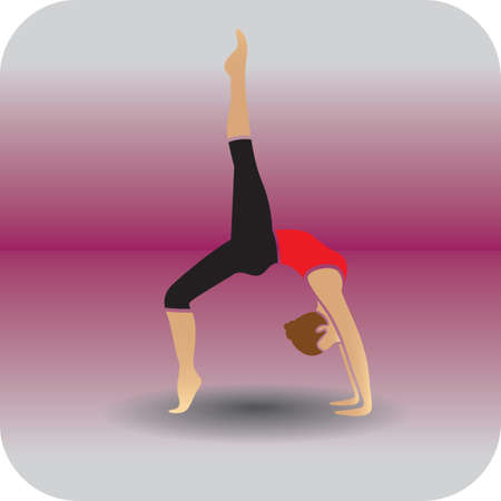girl practising yoga in wheel pose variation