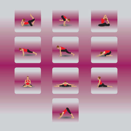 set di icone di yoga