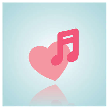 love song: heart and music note