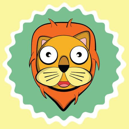 畏敬の念のライオン  イラスト・ベクター素材