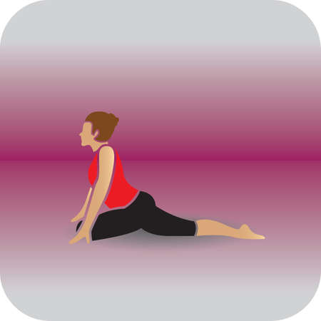 girl practising yoga in pigeon pose
