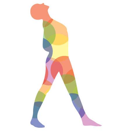 silueta del hombre practicando yoga en actitud derecha