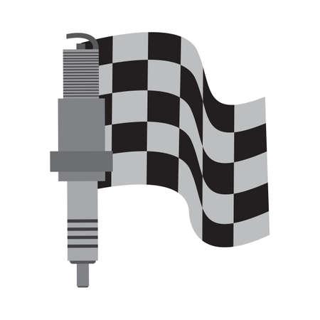 race flag: a spark plug and race flag Illustration