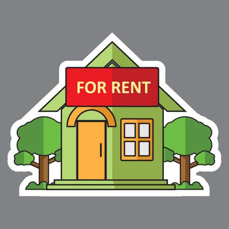 rent: home for rent sign Illustration