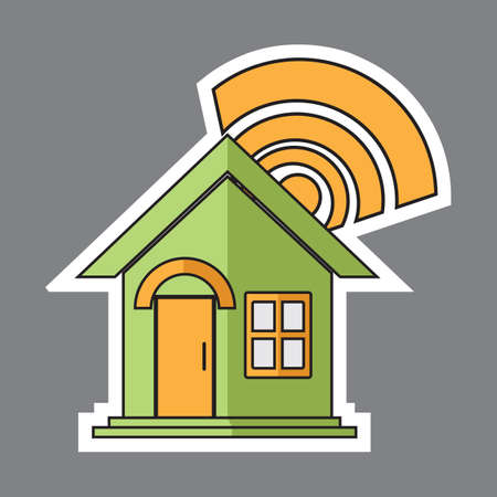 wireless connection: house with wireless internet connection