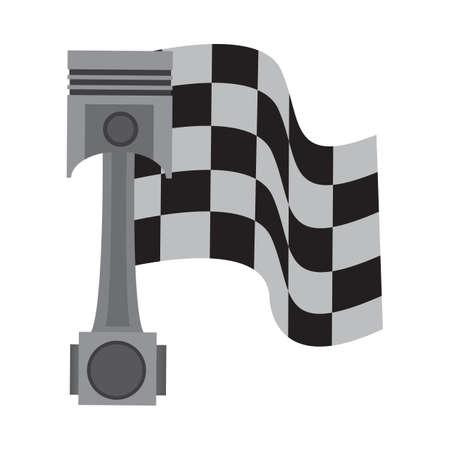 race flag: race flag with a piston