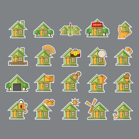 wind powered building: set of home icons