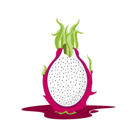 dragon fruit: dragon fruit cut into half