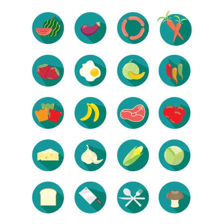 banana bread: set of food icons