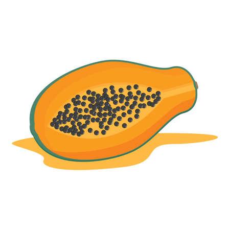 half: papaya cut into half Illustration