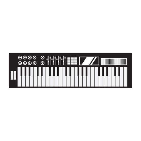 the electronic: silhouette of electronic piano Illustration