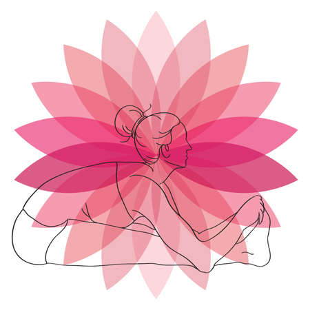 seated: woman practicing yoga in seated forward fold pose Illustration