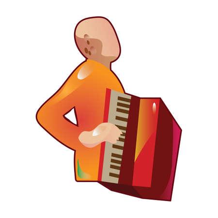 accordion: man playing accordion Illustration