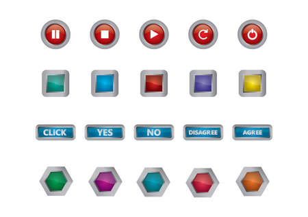 stop icon: set of button icons