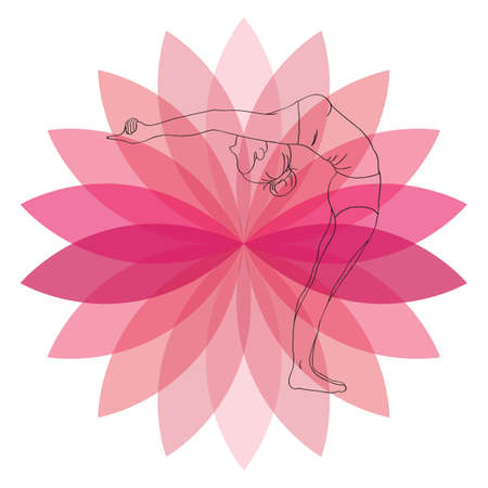 arm raised: woman practicing yoga in raised arm pose Illustration