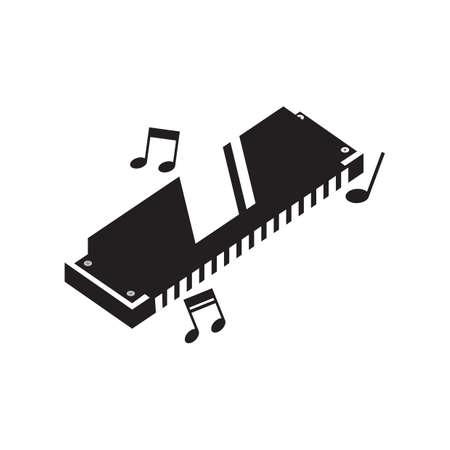 harmonica: silhouette of harmonica Illustration
