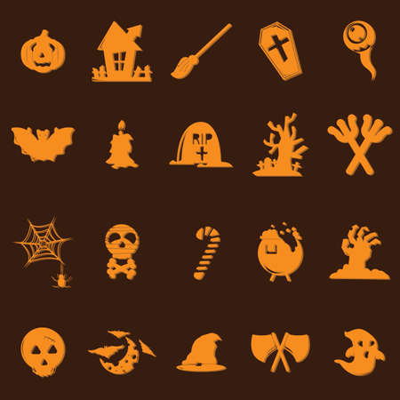 monsters house: halloween icons set
